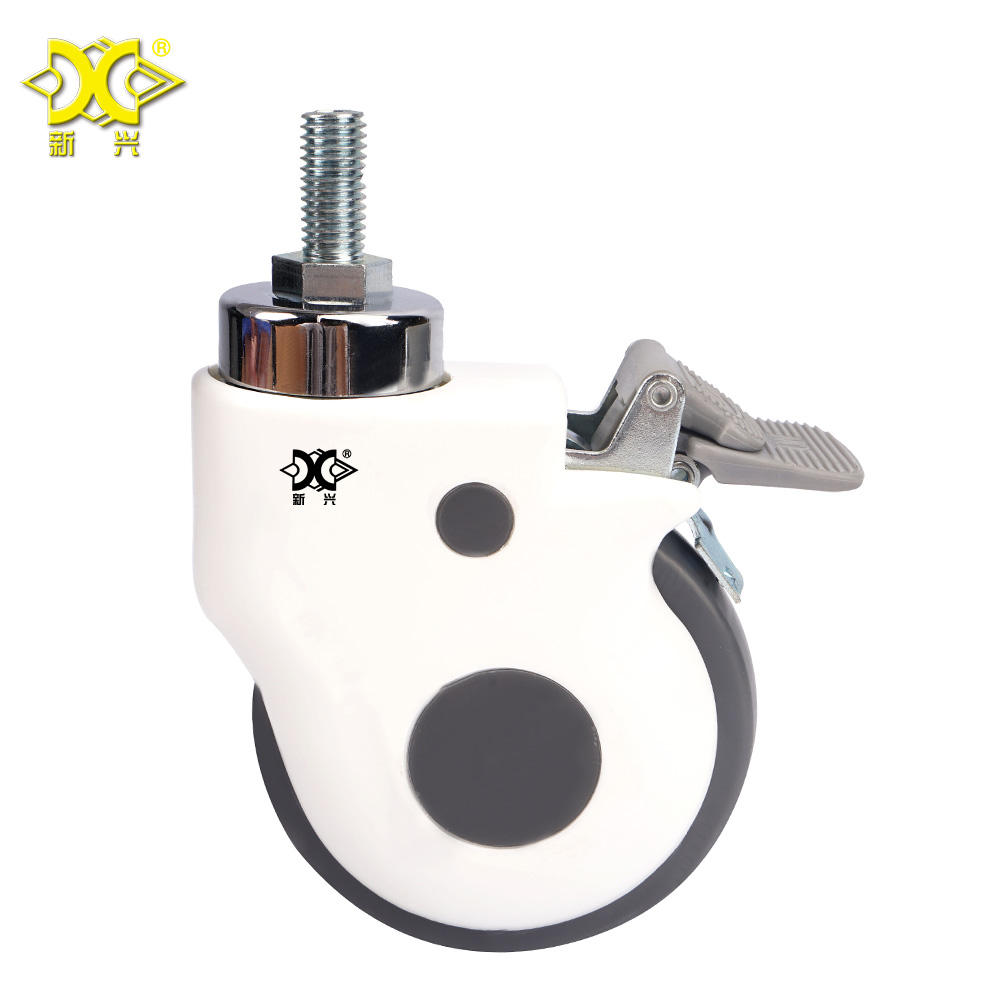 75mm Medical Caster 3 inch PVC Locking Brake Stem Castor Hospital Bed Caster Wheel
