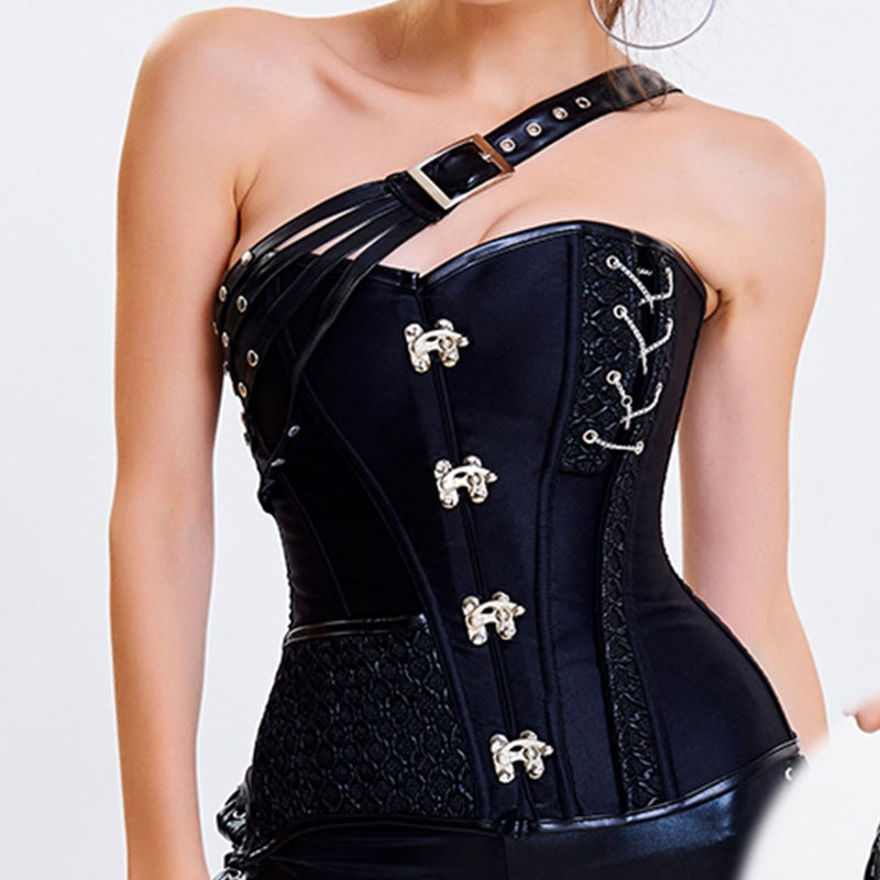 Steampunk Corset Women Punk Bustiers One Shoulder Steel Bone Body Corsets GothicParty Strap Lacing Up Sexy Clubwear