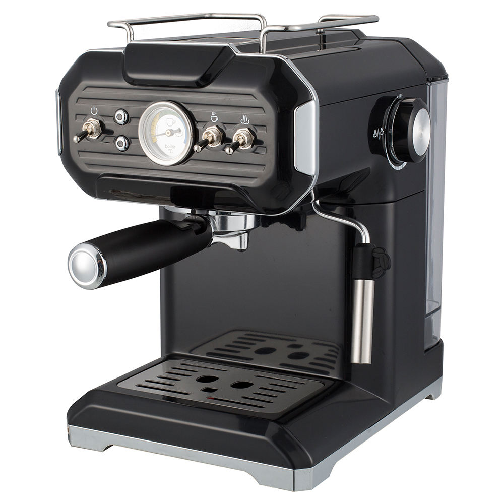 Vintage Italy Espresso Machine with Steamer Small Retro Design Single Group Cafe Espresso Machine Semi-Automatic for Home Use