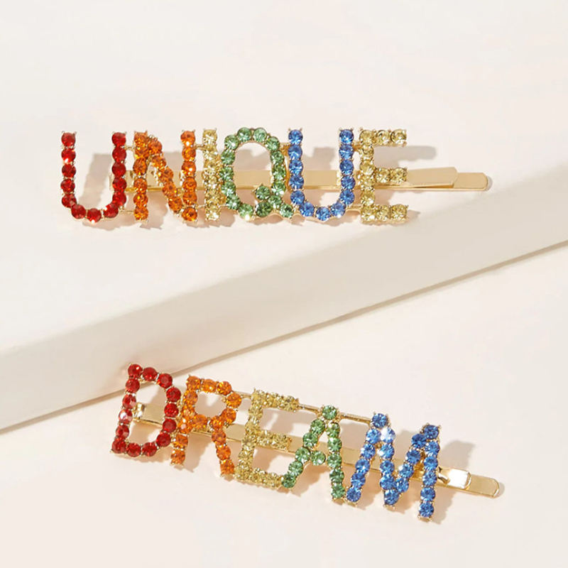 Colorful Dream Unique Letter Words Rhinestone Hair Bobby Pins Custom Bling Hair Pins