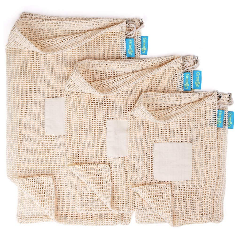 Reusable eco friendly grocery bag shopping net produce organic cotton mesh fruit bag