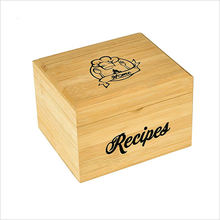 Wholesale Made to Order Bamboo Wood Recipe Box with 100 4x6 recipe cards