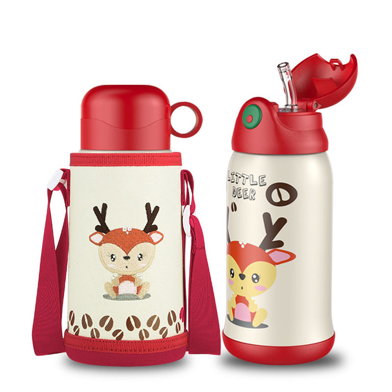 Kids Water Bottle Stainless Steel Insulation Cup Children's Pots Baby Thermos With Straw