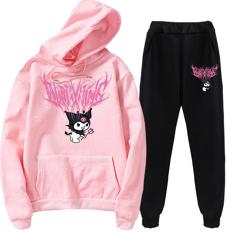 2021Hot Sale In Stock Oversized Printing Sweater Custom Anime Cartoon Blakking Kuromi Hoodies For Unisex