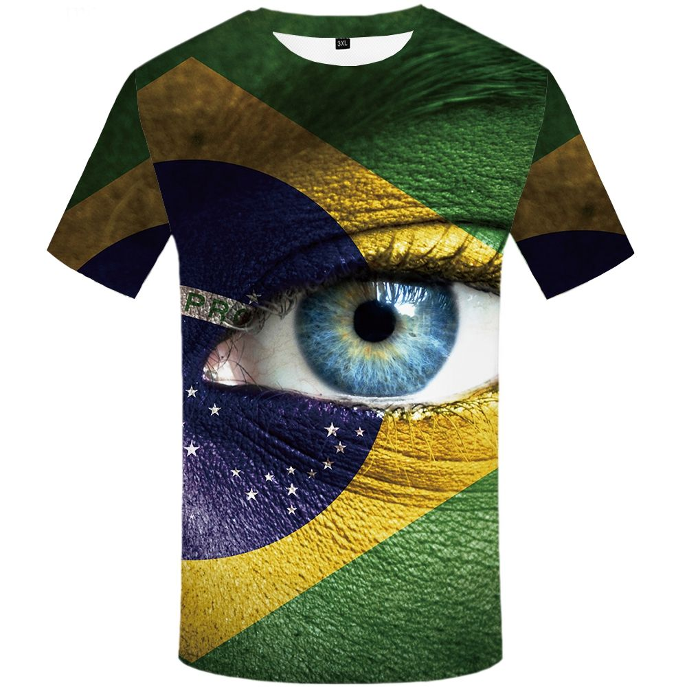 Eye T shirt Men Brazilian Flag 3d T-shirt Green Punk Rock Colorful Graphic Tee Printed Tshirt Cool Mens Clothing