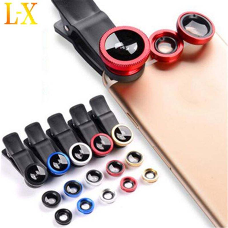 3 In1 Mobile Phone Camera Len Kit Wide Angle Fish Eye Fisheye Macro Lens With Clip
