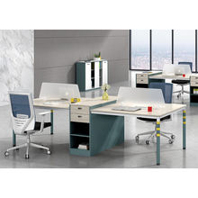 JOHOOFURNITURE Commercial Office Furniture Wood Staff Computer Two Side 4 Person Workstation Furniture For Office