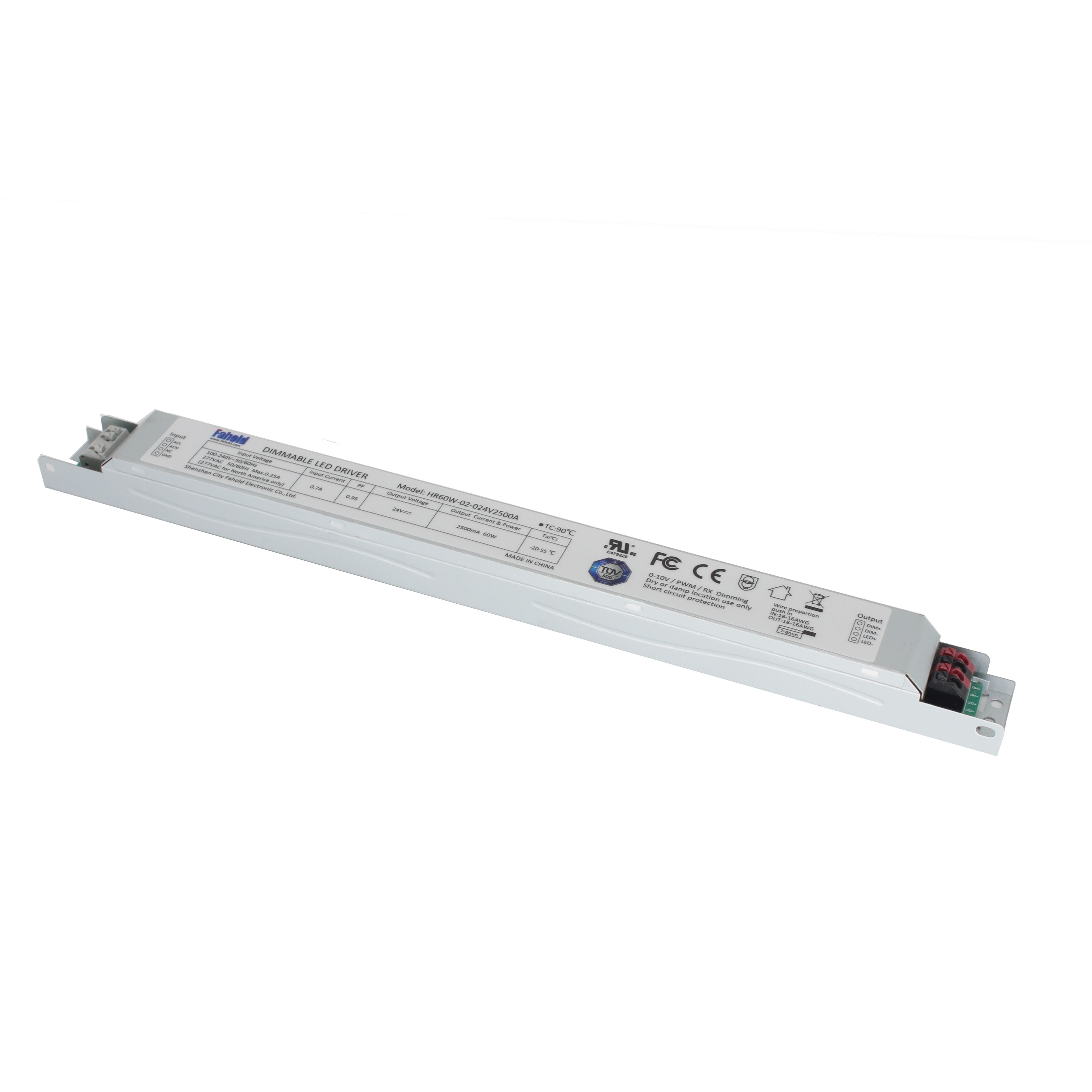 100-277V 12V/24VDC output 60W slim internal led strip power supply