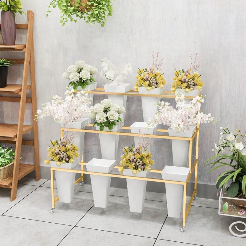 Wholesale custom green plant flower stand flower display stand with wheels