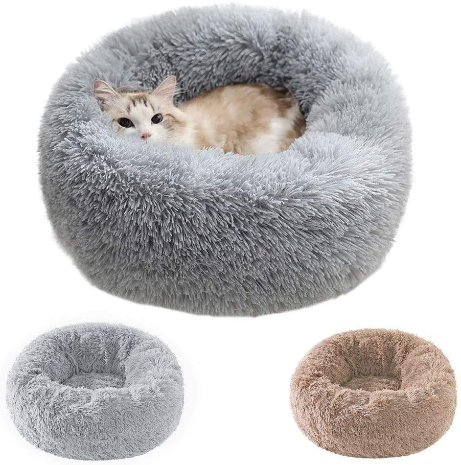 Pet Bed for Small Cats and Dogs Donut Cuddler Dog Bed Comfy Fluffy 20X20inch Washable Long Plush Calming Cat Beds