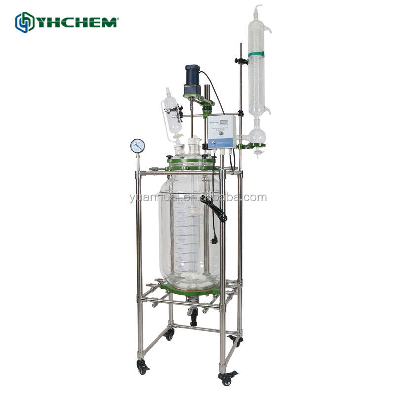 Double wall jacketed glass reactor plant vessel made in china