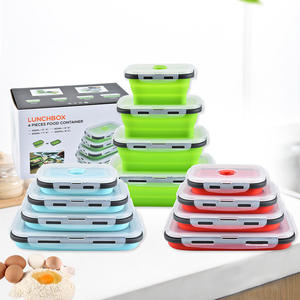 Set of 4 rectangular silicone collapsible lunch box food container