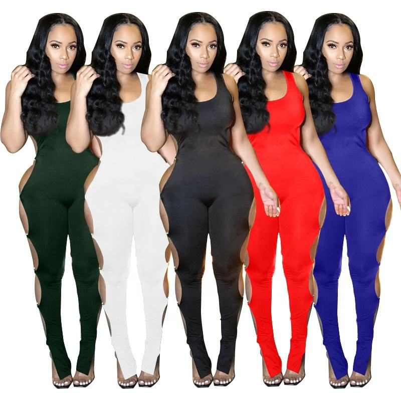 Ready to ship Plus size 2021 Summer Sleeve Tank One Piece Jumpsuit Hollow Out Bandage sexy bodycon jumpsuit rompers Long Jogging