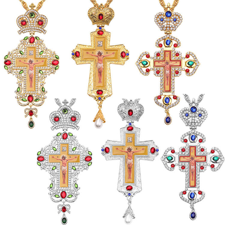 Orthodox Pectoral Cross Design Jeweled Religious Icon Byzantine Crucifix Necklace Bishop Priest Episcopal Cross Pendant Necklace