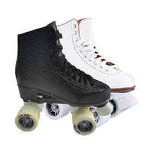 Customized Outdoor Artistic White Double Row 4 Wheel Girls Adults Woman Quad Roller Skates