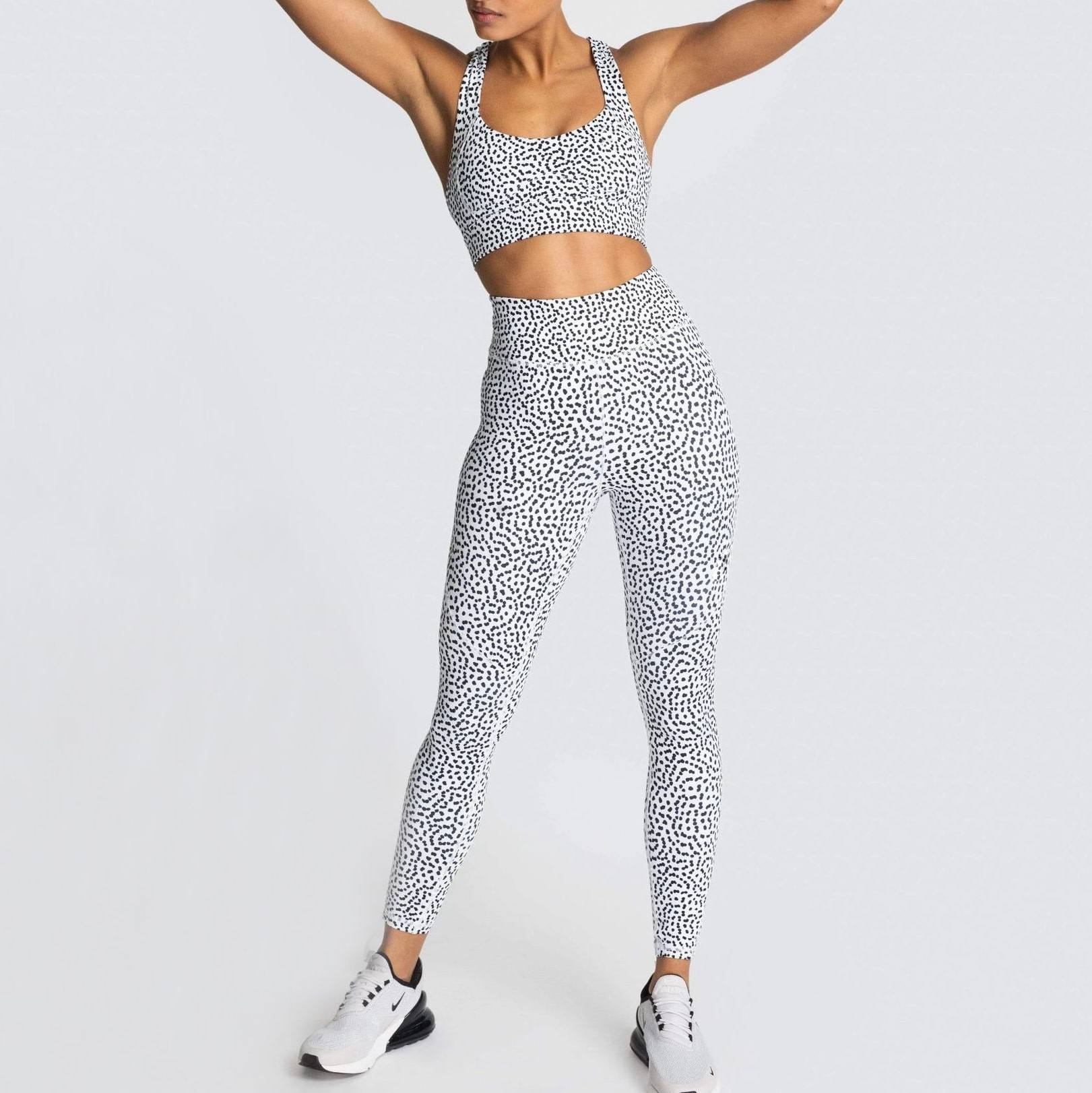 Newest style women print yoga suit legging sets athletic apparel manufacturers