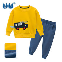 Cheap Casual Kids Clothes Fashion Design Boys Long Sleeve Fleece Clothing Sets