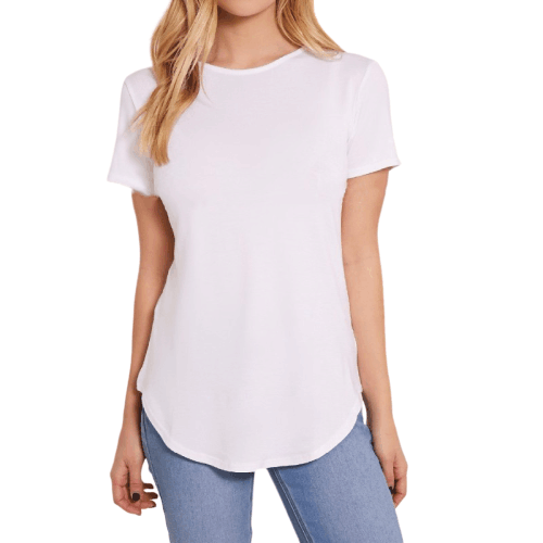 Basic White Curved Hem T Shirt Women Plain Soft Cotton Top Round Neck Blank Wholesale Clothings