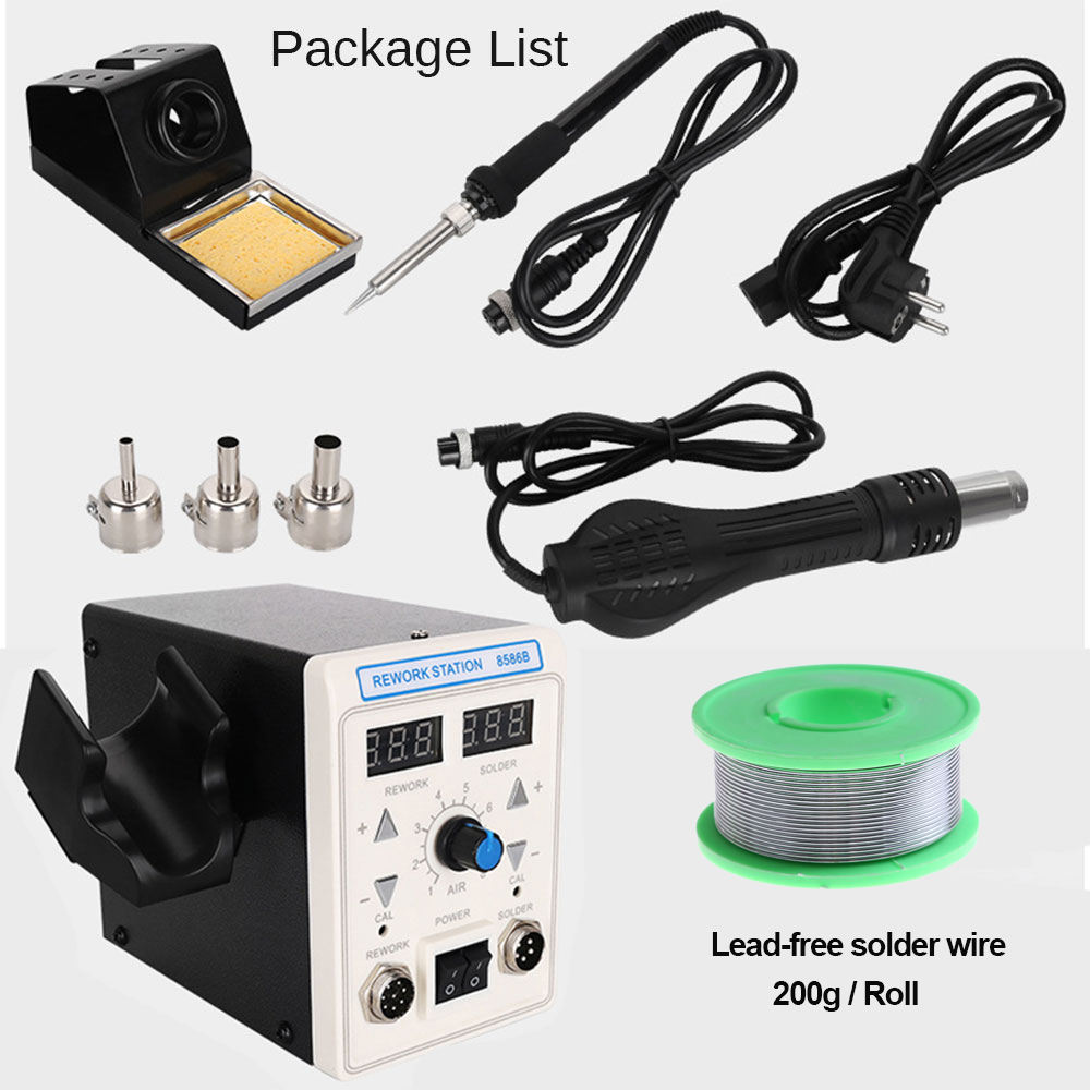 APD-8586B 750W digital ESD 2 In 1 Hot Air Gun Soldering Station Iron For IC SMD Desoldering Rework Station