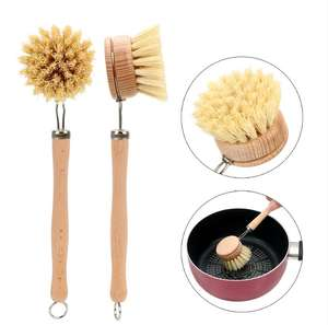Plastic Free Dishes, Pot, Pans Dishes Scrub Brush Long Handle Kitchen Natural Bamboo Dish Scrub Brush