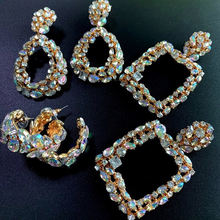 2020 new arrivals winter new fashion crystal diamond square geometric statement earrings for women gold cz stone earrings