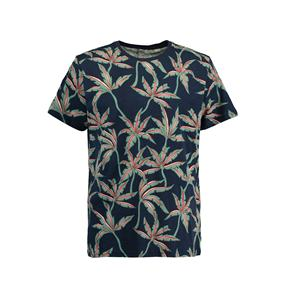 Cut&Sew flowers men blue t shirt Custom design 100% cotton t-shirt