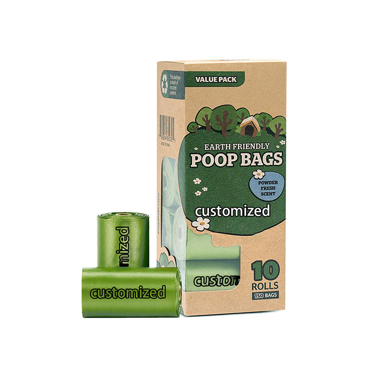 Stampati personalizzati eco friendly biodegradabile compostabili amido di mais usa e getta profumato inodore verde doggie dog poop waste borse
