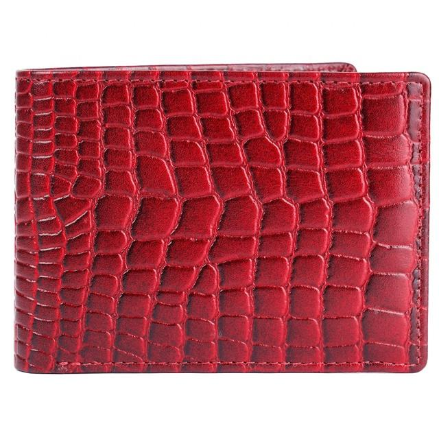 Crocodile Printed Genuine Leather Mini Embossed Wallet Bifold For Men Premium Top Grain With Coin Pocket Red