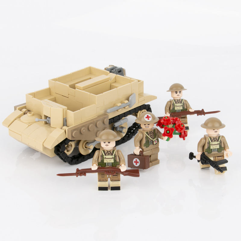 Small tracked-car figures toy weapons accessories WW2 military tank army soldiers set building blocks