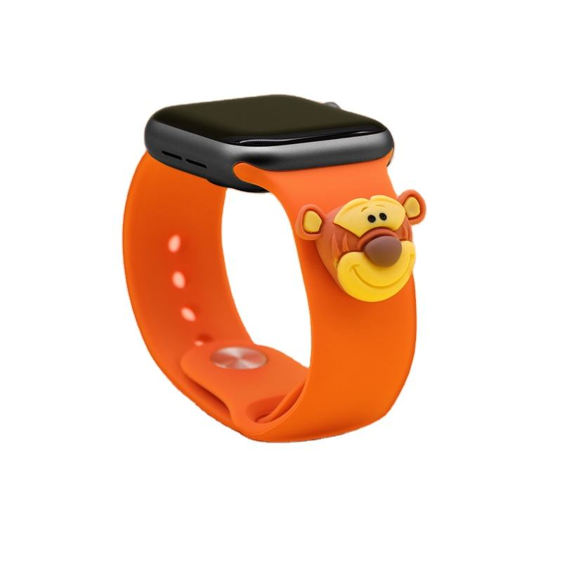 Fashion Cartoon Pendant 38mm 40mm 42mm 44mm Silicone Watch Band for Apple Watch