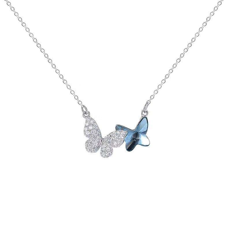 Fashion High Quality Jewelry 925 Sterling Silver Double Butterfly Crystal Pendant Women Necklace