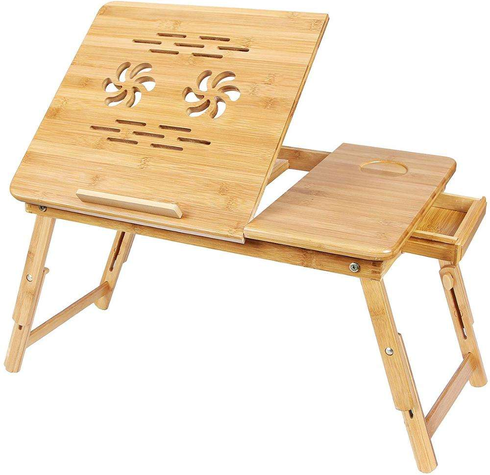 big portable adjustable folding bamboo laptop table