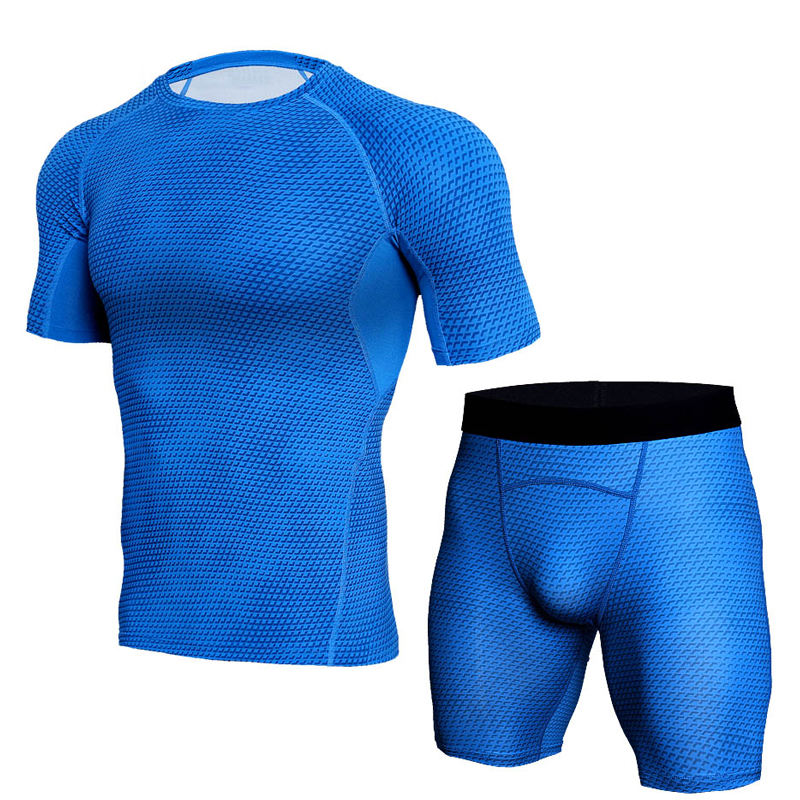Sports Mens Compression Shirts Athletic Gym MMA BJJ Rash Guard Short Sleeve Shirt Pants Rashguard Suit Set For Men