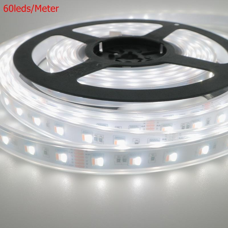 LED Strip 5 In 1 60 LED Silikon 96 LED/M 5050 Rgbcct Chip 96 LED DC24V Lumens Yang Tinggi LED Flexible Strip 180W LED Tape