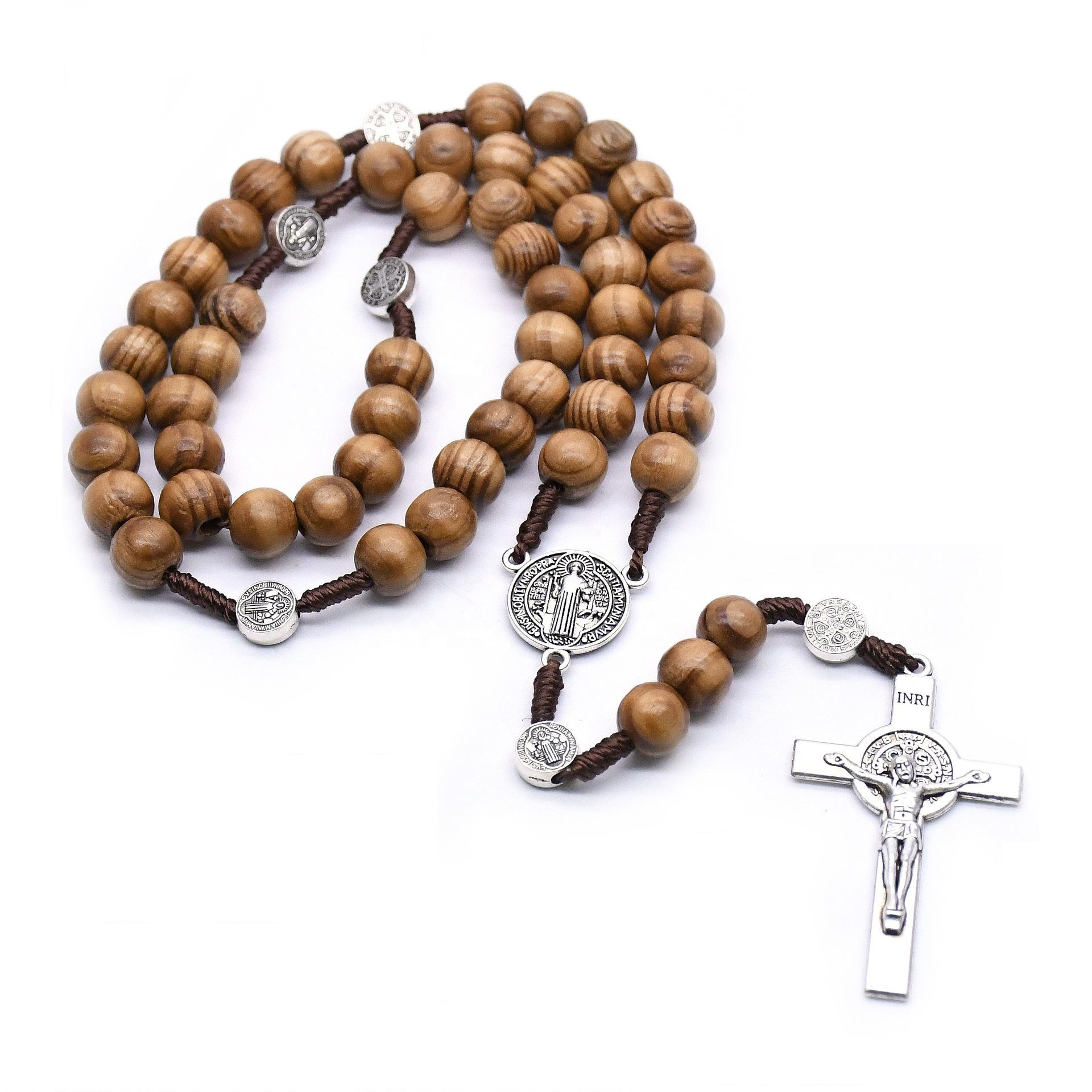 Wood Rosary Necklace Gold Catholicism Gift Religious Prayer Beads