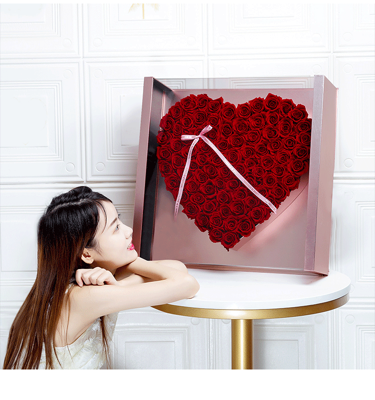 Flower bouquet gift box large grid large web celebrity panorama love box valentine's day flower arrangement box transparent lid