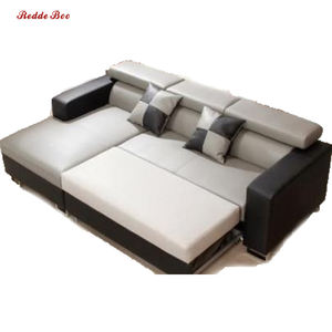 Water proof modern design leather sofa bed with adjustable headrest 1106