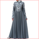 2020 new cross-border source of goods: wish Muslim women's long sleeve stand collar Printed Dress with national style