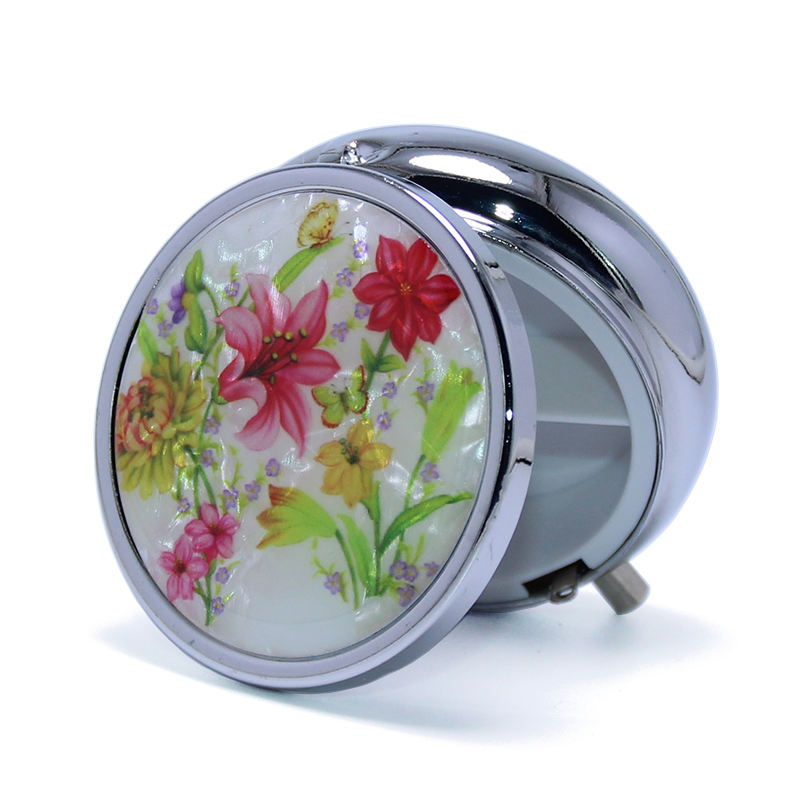 50*19mm Fashion Lily Flowers Stainless Steel Drug Storage Portable Medicine Organizer Container 3 Days Round Metal Pill Box