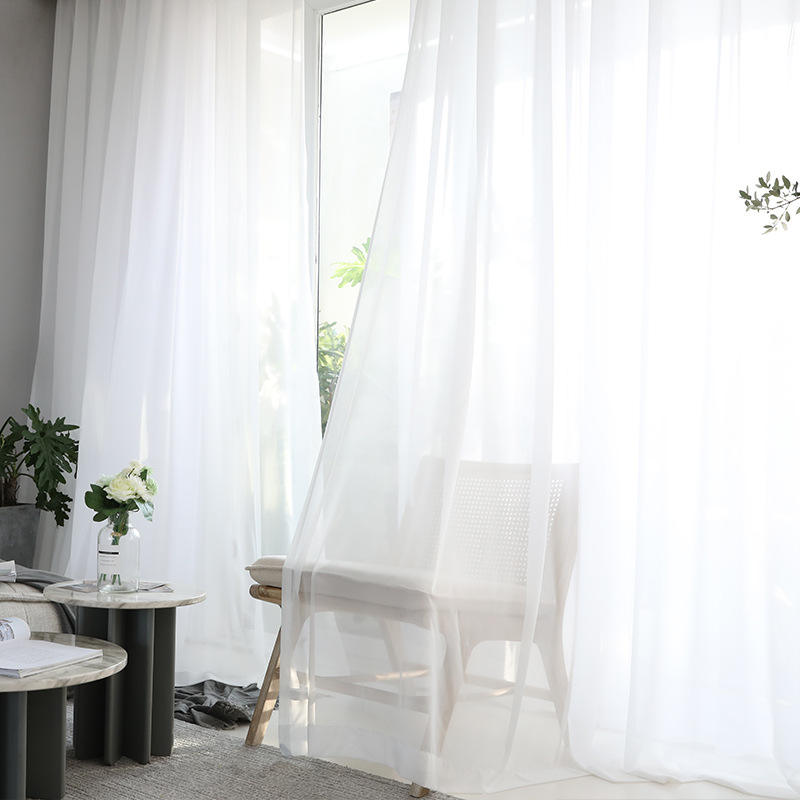Europe Solid White Yarn Curtain Window Tulle Curtains For Living Room Kitchen Modern Window