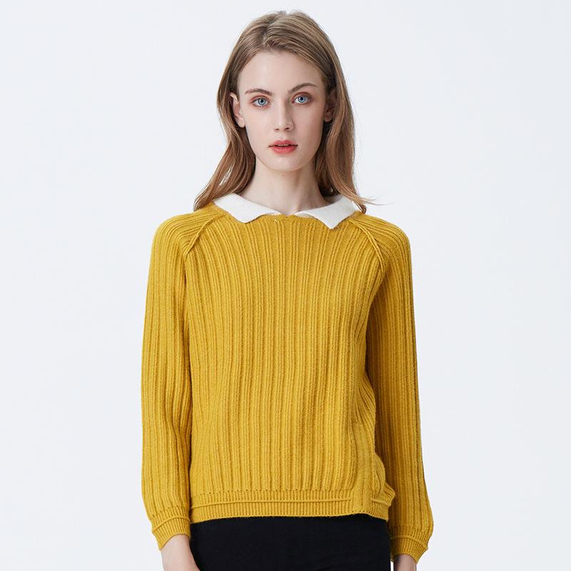 Yong дамы женщин отложной воротник сплошной свитер сексуальный короткий Причинно серый осенний свитер