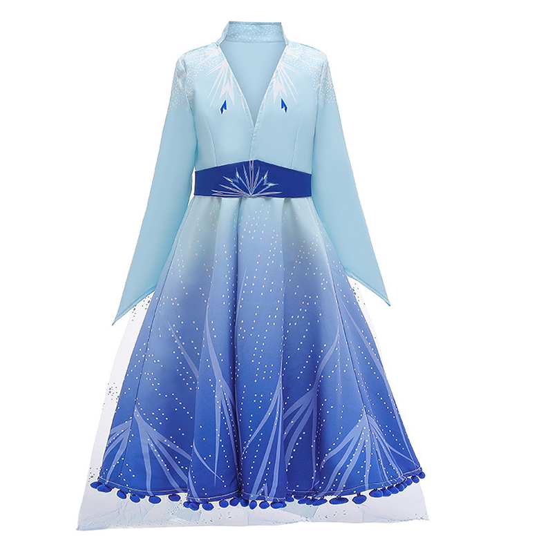 D0120 Hot Selling New Frozen 2 Elsa Anna Girls Princess Kids Fancy Dress Costumes Long Sleeve Frock Cosplay Party Dress