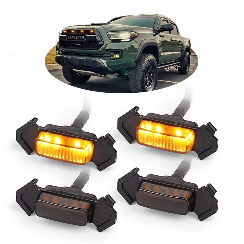OVOVS Grille Led Amber Light Kit 4PCS Pack with Wiring Harness for Toyota Tacoma