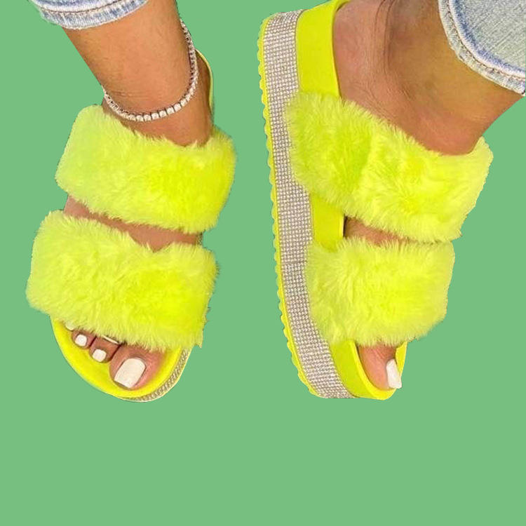 wholesale female Diamonds Rhinestone Fluffy Fur Slides Shoes ladies Thick Sole Sandals Women Summer Furry Slippers