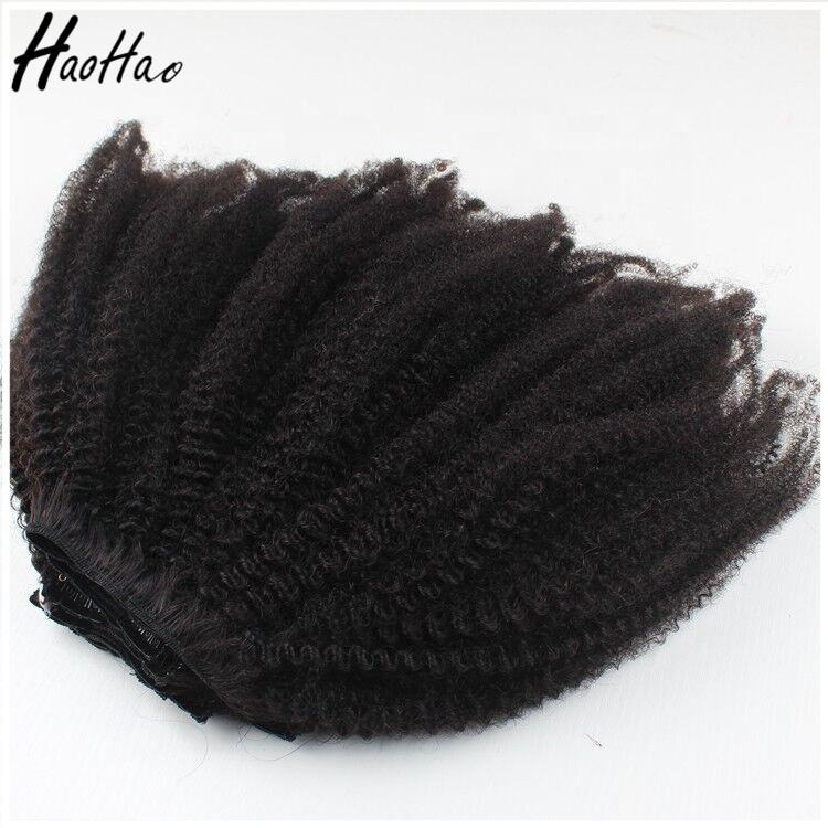 High Quality Natural Hair 4a 4b 4c Human Hair Weave Afro Kinky Curls Clip Ins Extensions