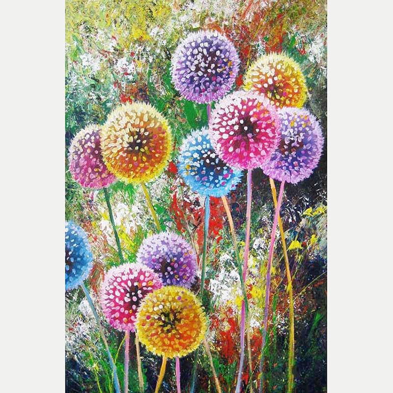 Wholesale 30*40cm 5D DIY Diamond Painting Colored Dandelion Square Drill Cross Stitch Picture Of Rhinestone For Home Decor