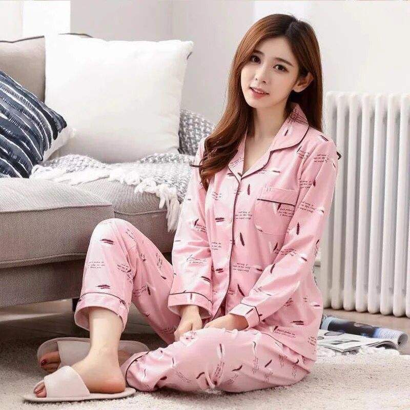 New Long Sleeved Sleepwear Korean Trend Loose Thin Woman Pajamas