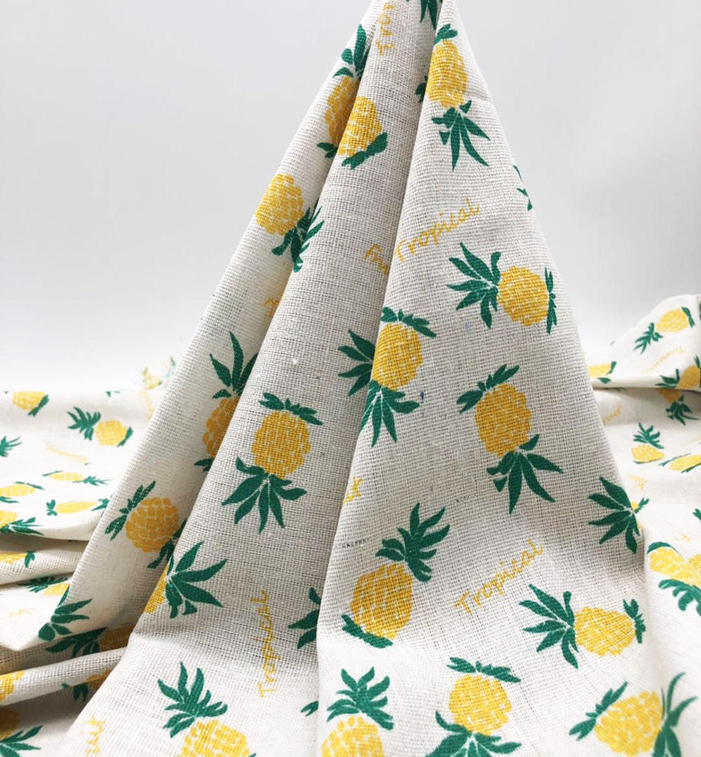 100% linen cotton printing fabric yellow pineapple printing pattern pillow, sofa fabric