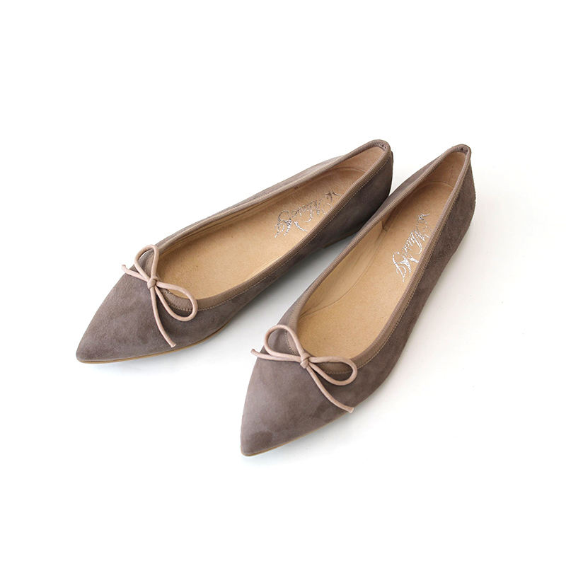 Japan Silky Beige Suede Pointed Toe Woman Flat Leather Shoe