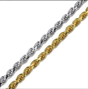 In Auf Hip Hop 316L Edelstahl Box Kette Halskette Gold Überzog Kubanischen Link Franco Kette Twist Seil Ketten